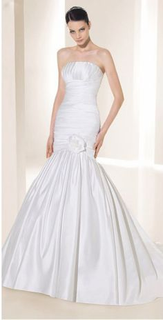 Curvaceous Slender Mermaid Style Satin Empire Waist Bridal Gowns ,Mermaid Wedding Dresses,