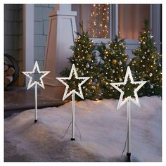 led battery operated star tree pathway lights 3ct