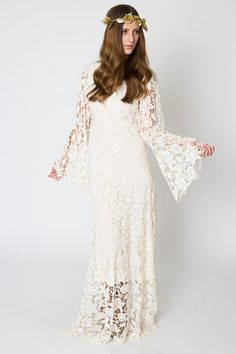 Vintage-Inspired Bohemian Wedding Gown. BELL by Dreamersandlovers