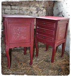 """Annie Sloan """"Chalk Paint™"""" Burgundy nightstand"""