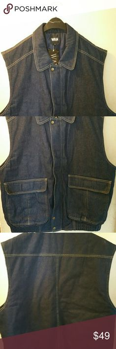 BRAND NEW MENS DENIM VEST/JACKETS AVAILABLE Authentic men's jacket/vest! Brand new and never worn!! I take reasonable offers!! Wan Jackets & Coats Vests