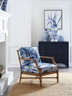 News On Navy Blue And White Living Room Decor Revealed 29 - athomebyte Blue And White Living Room, My Living Room, Living Room Chairs, Living Room Decor, Living Area, Dining Chairs, Blue Rooms, White Rooms, Mediterranean Decor
