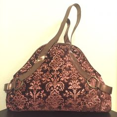 """Vintage Style Boho Floral Fabric Handbag Vintage style handbag in fabric.  The fabric is similar to felt/ crushed velvet.  Approximately 14"""" long, 2-3"""" wide, and 10"""" tall.  Bag is practically brand new, used only once. Bags Shoulder Bags"""