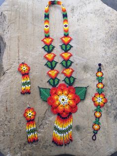 A personal favorite from my Etsy shop https://www.etsy.com/listing/254871102/mexican-huichol-beaded-flower-necklace