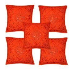 EMBROIDERED INDIAN SQUARE CUSHION COVER PILLOW CASE  MIRROR WORK THROW 5 ORANGE #Handmade #ArtDecoStyle
