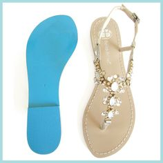 Something BLUE SOLE Gold Vintage Inspired Jewel Crystal Bridal Thong Sandals Shoes Beach Wedding on Etsy, $139.00