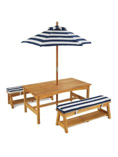DARLING Navy & White Nautical Stripe Outdoor Table & Bench Set With Cushions & Umbrella by KidKraft at Gilt