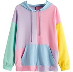 with kangaroo pocket. Hoodie Sweatshirts, Baggy Hoodie, Sweater Shirt, Thrift Store Outfits, Colour Blocking Fashion, Colorful Hoodies, Henley Shirts, 80s Fashion, Cute Outfits