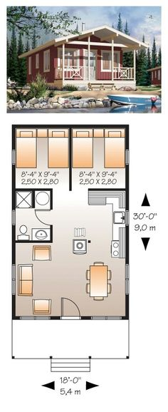 Tiny House Plan 76166 | Total Living Area: 480 Sq. Ft., 2 Bedrooms