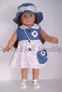 DENIM & COTTON DRESS, HAT, & PURSE Doll Clothes made for 18 inch American Girl