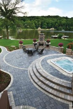 Create your dream outdoor living hardscapes. Check out our hardscape design idea. - Create your dream outdoor living hardscapes. Check out our hardscape design ideas gallery for stone - Hardscape Design, Backyard Patio Designs, Backyard Landscaping, Modern Backyard, Paver Designs, H & M Home, Concrete Patio, Land Scape, Outdoor Living