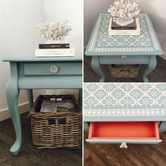 Lamp table handpainted in Annie Sloan Duck Egg Blue and Pure White stencil overlay. Henrietta drawer interior.
