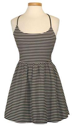 NEW Guess Womens Dress MONACO Striped Stretch Flouncy Sundress Black Sz 10 $98 #GUESS #Sundress #Casual