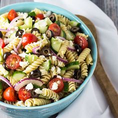 Greek Pasta Salad full of fresh vegetables and pasta with an easy homemade vinaigrette.
