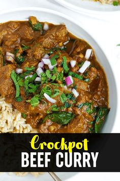 Throw it all in the CROCKPOT and come home to this DELICIOUS melt in the mouth beef curry in a tomato sauce. #crockpotrecipe #slowcookerrecipe #beefcurry #curryrecipe #tamingtwins Slow Cooker Beef Curry, Slow Cooked Beef, Slow Cooker Recipes, Meat Recipes, Crockpot Recipes, Family Recipes, Family Meals, Meat Dish, Midweek Meals