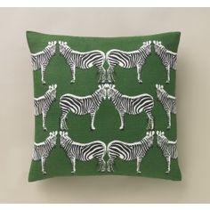 Zebra Kelly Green Pillow,$80.00