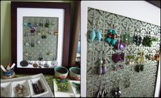 Earring Holder DIY - using a radiator grate. Thanks Amanda for the suggestion!  My jewelry box is starting to overflow...