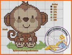Aapje zit, kruissteek Cross Stitch For Kids, Cross Stitch Boards, Cross Stitch Baby, Cross Stitch Animals, Cross Stitch Designs, Cross Stitch Patterns, Crochet Blanket Edging, Monkey Pattern, Pixel Crochet