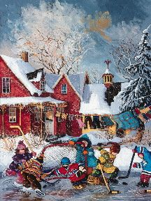 Puzzel Ravensburger Games Germany WinterGames PaulinePaquin Quebec Artist Childhood themes Canadian wintergames