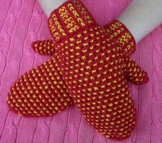 red, yellow, warm knitted mittens