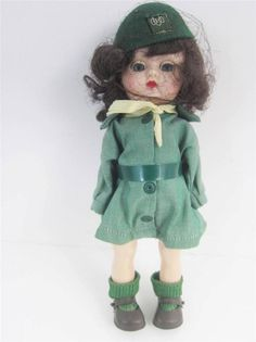 """Great cross collectible for fans of #Ginnydoll and #GirlScout memorabilia. Cosmopolitan #Ginger 8"""" Girl Scout Doll All Original uniform, Hairnet Intact"""