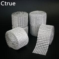 1pcs 4cm*2meter Bling Diamond mesh Wrap ribbon silver Rhinestone Mesh Roll Tape Tulle Crystal Ribbon cake wedding decoration #Affiliate