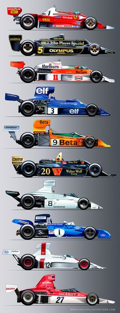 Vintage Formula One, F1 race cars from the FIA 3-Litre era 1966-1983. I was the Art Director for Vintage Grand Prix group that ran these cars where I sketched and photographed them to prep my illustrations.