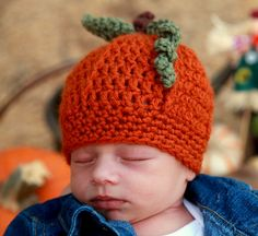 FREE crochet pattern: Newborn to 12 month pumpkin beanie at hellohandyheart.com, thanks so xox
