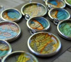(Try with bottle caps)   Personalized Location Vintage Map Necklace