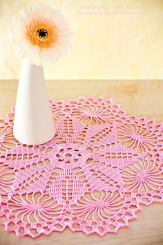 For Beginners Doilies Crochet doily Doily ELLA Crochet lace doily Lace by tatajashma Crochet Car, Crochet Gifts, Crochet Clothes, Free Crochet, Lace Doilies, Crochet Doilies, Crochet Flowers, Crochet Stitches, Knitting Patterns