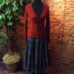❤️BEAUTIFUL RED SWEATER❤️WET SEAL❤️ Love this wrap style sweater with a drawstring waist and wide sleeves. Very flattering.. Gently used Wet Seal Sweaters V-Necks