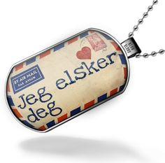 "Neonblond Dogtag ""I Love You"" Norwegian Love Letter from Norway - Dog tags necklace NEONBLOND Dogtags. $18.99. Thick High Quality. Image size 47mm x 27mm. We have more then 4000 different Dogtag necklaces. Comes with our Free Velvet and Satin Bag. Unisex gift for man & woman. Save 21% Off!"