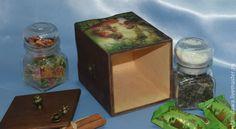"""Купить Короб для чая """"Веселое чаепитие"""" - комбинированный, короб для хранения, короб для чая, короб для кухни"""