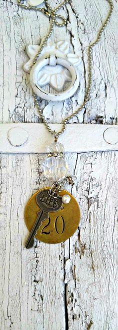 Antique Check Tag Key Necklace AntiQue KeY by SecretStashBoutique