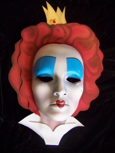 Red Queen -Queen of Hearts Mask, Alice in Wonderland, Sweet, HandMade/ Painted -Disney/Burton inspired