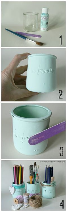 Chalk paint: tarros de cristal shabby chic                                                                                                                                                                                 Más