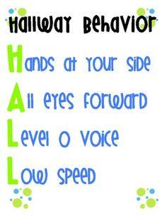 Free printable! Hallway behavior poster.