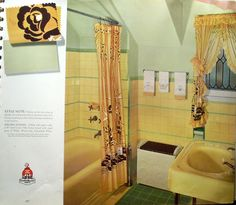 The tile and the shower curtain do it for me!  This book is from 1941 and shows exteriors and interiors of homes with attractive color schemes.