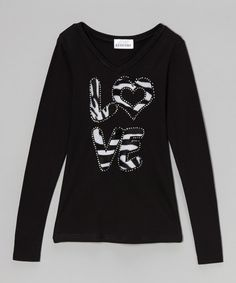 Look at this Black 'Love' V-Neck Tee on #zulily today!