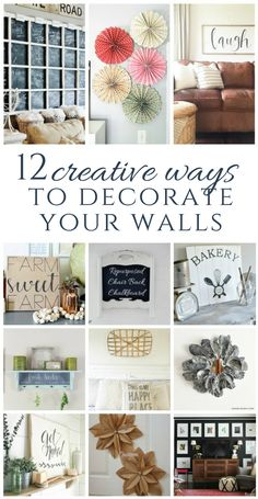 12 creative ways to decorate walls! Includes easy DIY projects, as well as some really cool re-purpose projects. All budget friendly!
