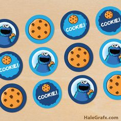free printable Cookie Monster cupcake toppers for a Cookie Monster or Sesame Street themed party. This free printable prints 12 to a sheet in PDF format. Elmo Birthday, Baby 1st Birthday, 2nd Birthday Parties, Birthday Ideas, Elmo Party, Cupcake Party, Baby Party, Sesame Street Party, Sesame Street Birthday