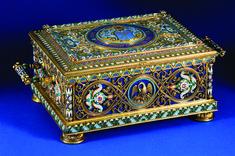The Durnovo Casket, 1889, by Pavel Ovchinnikov. Presented to Ivan Durnovo, Tsar Alexander III's Minister of the Interior. Silver gilt, enamel and lapis lazuli.