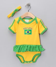 Another great find on #zulily! Gold & Green 'Brazil' Flag Skirted Bodysuit & Headband - Infant #zulilyfinds