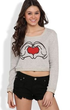 Deb Shops Long Sleeve French Terry Crop Top with Heart in Hands Screen $14.92