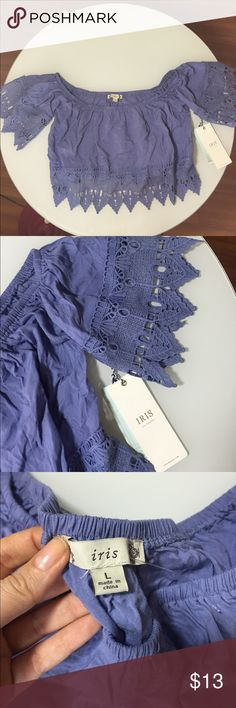 Off the shoulder lavender crop top New with tags size L. Beautiful color, perfect for high waisted pants or skirts. The shoulder band is really comfortable unlike any other shirt of its kind ive tried on. Ive included pictures of me wearing a pink small version of this same shirt, just for reference! Tops Crop Tops