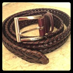 "Fossil new braided chocolate belt In new condition. Size is 38, Leather is 44"" long. Perfect for waist 30-41"" Fossil Accessories Belts"