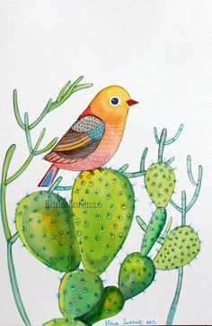 Bird with Cactuses / Succulent / Bird Art / Original watercolor painting / Organic Art / Wall art / Room Decor/ Nursery Art