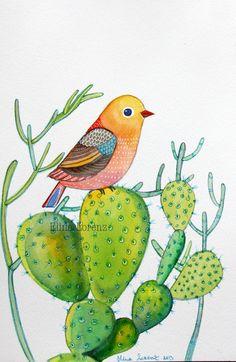 Bird with Cactuses / Succulent / Bird Art / Original watercolor painting / Organic Art / Wall art / Room Decor/ Nursery Art