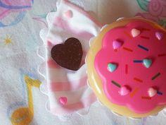 MISS ALPHABET pink stripe cookie candy clip bow fairy kei lolita