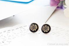 Royal crown black stud earrings Queen earrings laurel by CitrusCat